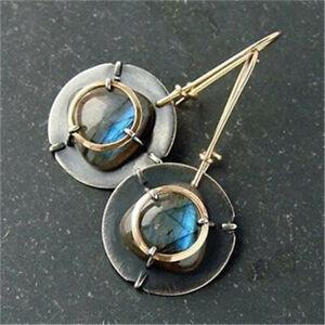 Fashion-925-Silver-Moonstone-Earrings-Ear-Hook-Dangle-Women-Wedding-Jewelry