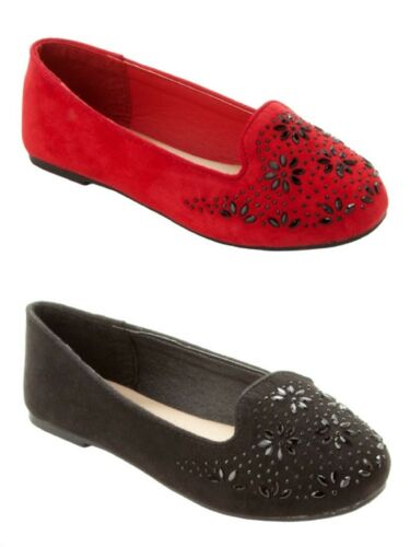 GIRLS FAUX SUEDE GEM STUDDED PARTY FANCY DOLLY PUMPS SHOES KIDS UK SIZE 10-2