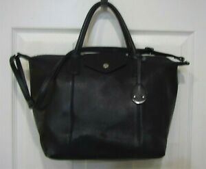 EMMA-amp-SOPHIA-Black-Leather-Satchel-Tote-Bag-Shopper-Purse