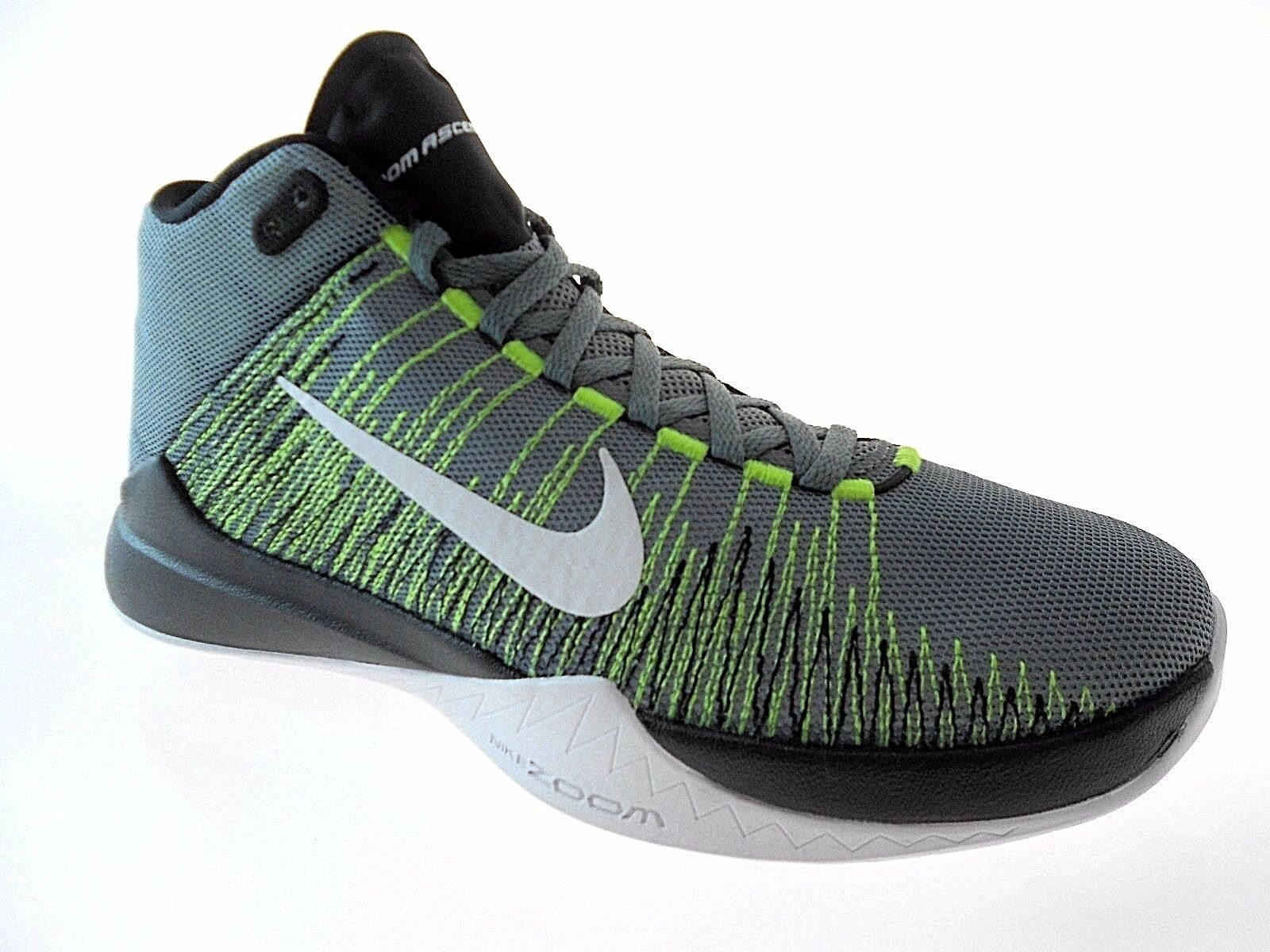 NIKE ZOOM ASCENTION MEN'S GREY/VOLT BASKETBALL SHOES sz 10,