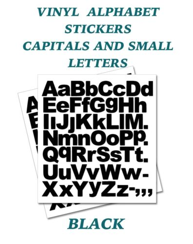 2 x  Set of A-Z Black Capital /& Small Letters  Vinyl Stickers size 20mm