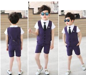 48c5744423e0 3pcs Kids Baby Boys Gentleman Suit For wedding party Shirt+Vest+Shorts  Clothes