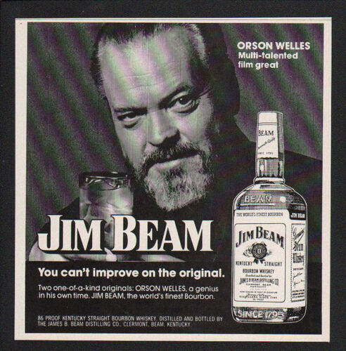 WAR OF THE WORLDS ORSON WELLES VINTAGE AD 1974 JIM BEAM Kentucky Whisky