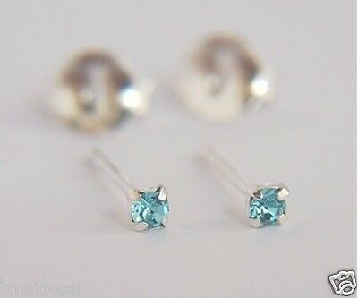 925 Sterling Silver 2mm Small Extra Tiny Turquoise Crystal Stud Earrings GIFT BN