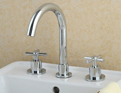 Chrome Finish Double Knobs Bathroom Sink Faucet