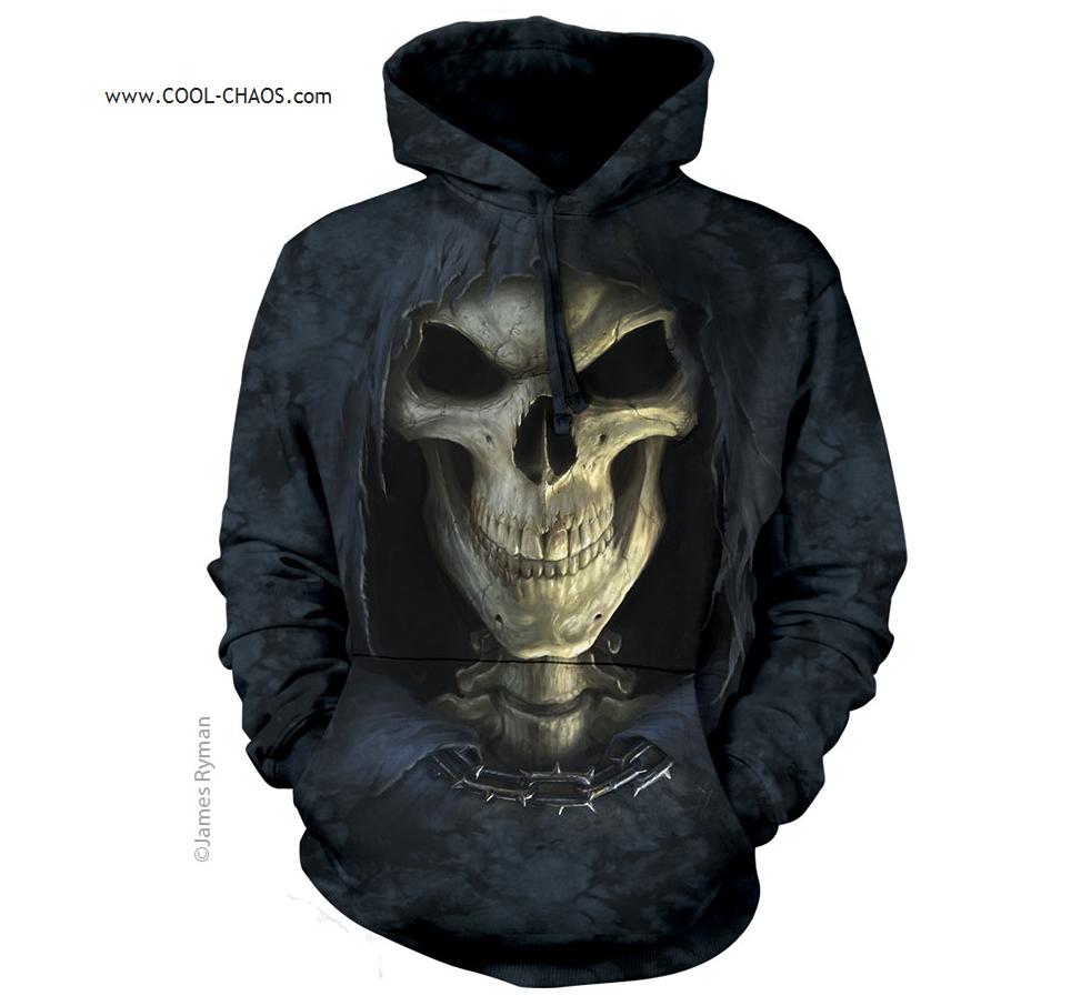 Death Reaper Schädel Kapuzenpulli / Batik Kapuzenpulli,3D Schädel,James Ryman