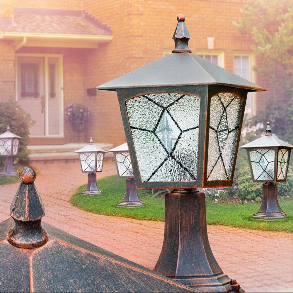 Zócalo clásica lámpara de jardín acero inoxidable caminos lámparas exterior pie lámpara balcón