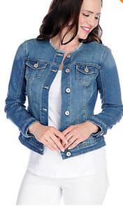 137cea493fc953 OSO Casuals® Stretch Denim Long Sleeve Raw Edge Neck Pocket jean ...