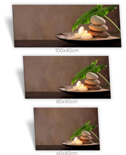 Leinwand-Bild Keilrahmen-Bild SPA-Wellness Kerzen-Licht Steine Schale Blatt