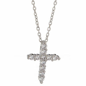 Women-Gift-Sterling-Silver-925-CZ-Cubic-Crystal-Cross-Pendant-Necklace-Diamante