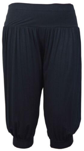 Ladies Plus Size 3//4 Ali Baba Baggy Stretch Fit Shorts Women Plain Cropped harem