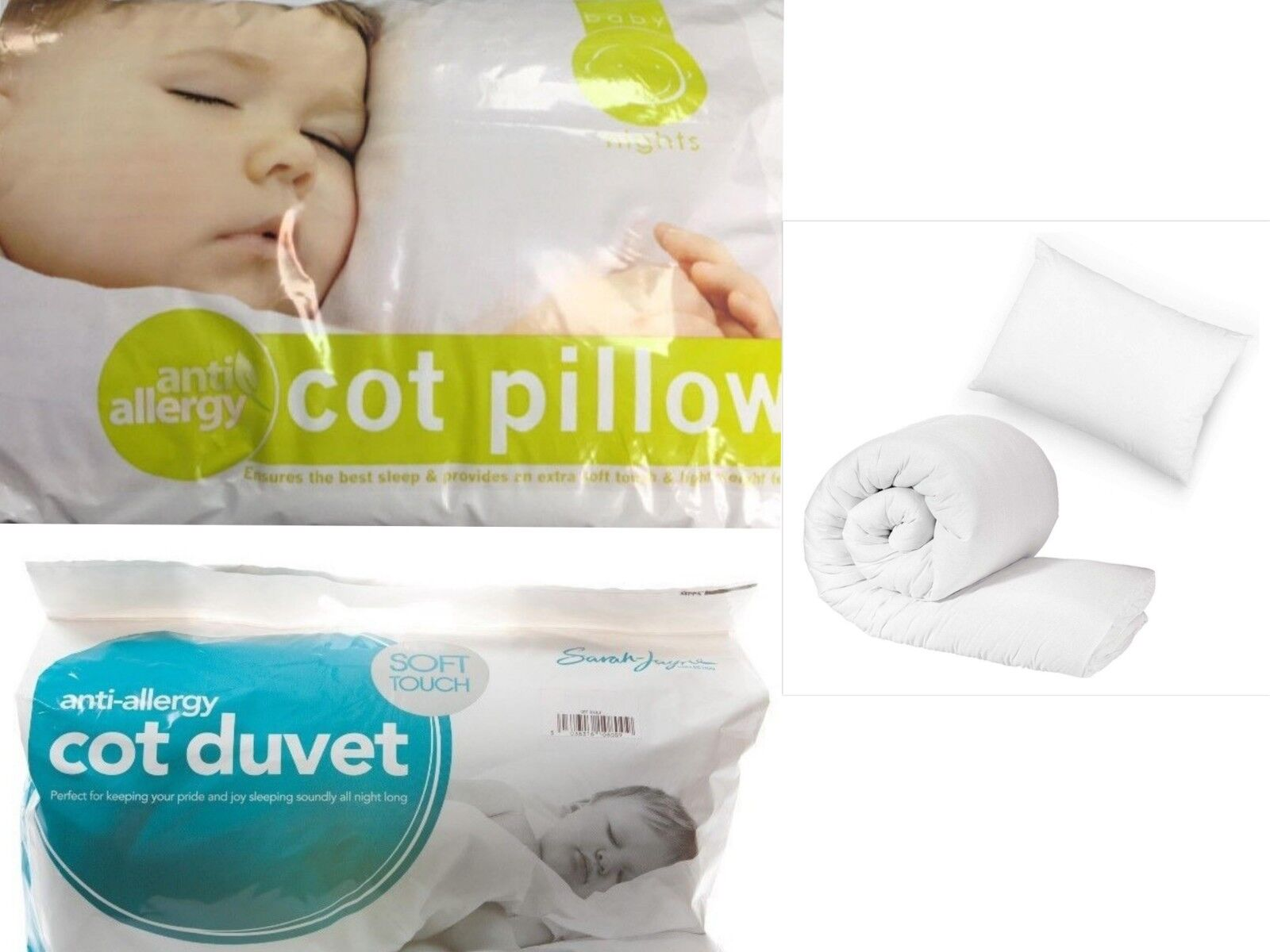 7.5 and 9 Luxury Anti-Allergy Baby Toddler Cot Bed Duvet//Quilt /& Pillow/_Tog 4.5