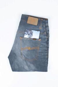30203 Nudie Jean Mince Finn Clean Acier Grisâtre Bleu Hommes En Taille 32/34