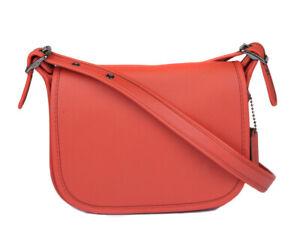 Coach-Women-039-s-Deep-Leather-Coral-Glovetanned-Crossbody-Saddle-Bag-Purse-Handbag