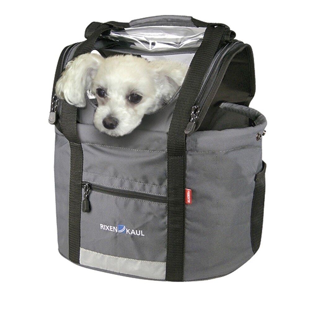 Klickfix Rixen&Kaul Doggy Lenkerkorb für Hunde Fahrrad Korb Hundetasche grau