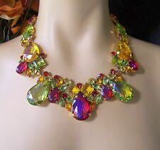 Juliana Style Czech Fruit Salad Dragon's Breath Rhinestone Glass Necklace Set
