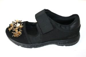 UTERQUE-black-shoe-with-gold-beading-detail-size-37-149-NEW