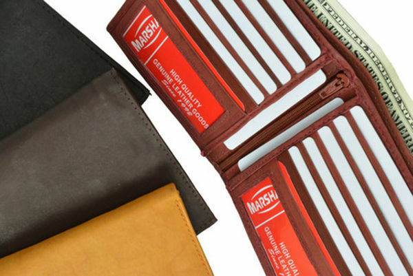 Genuine Cowhide Leather Hipster Bifold Mens Wallet 12 Credit Card ID Zip