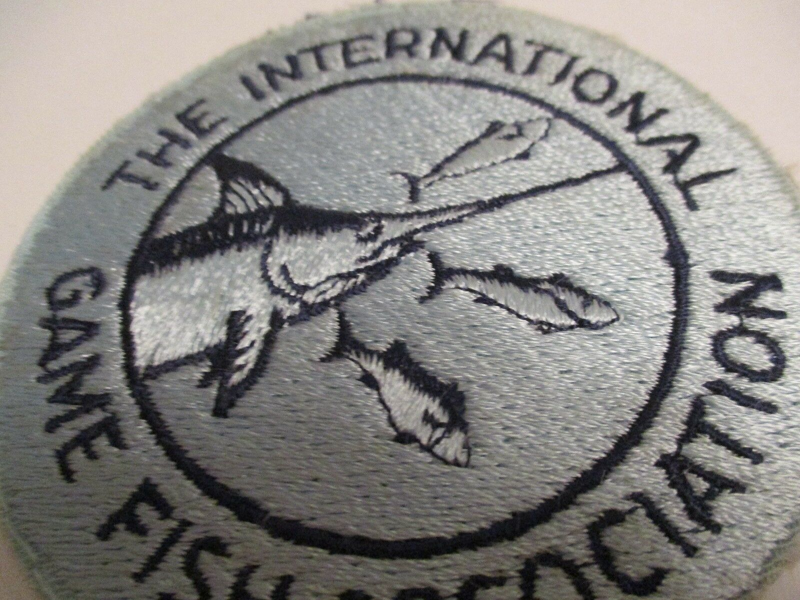 FISHING PATCH 1950's THE INTERNATIONAL GAME FISH ASSOCIATION 3.5 x 3.5 INCHES