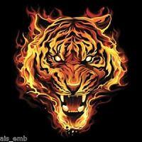 Flaming Tiger Heat Press Transfer For T Shirt Sweatshirt Tote Quilt Fabric 293o