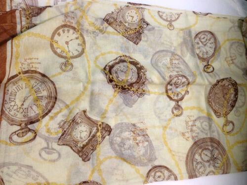 Designer Crema Stile Vintage Stampa CLOCK Sciarpa Wrap Scialle Maxi PAREO ESTATE