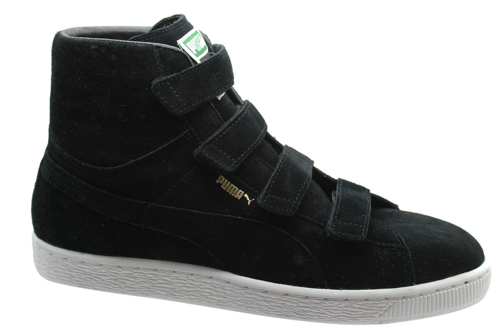 Puma Suede Mid V Mens Trainers 4 Vlecro Strap Black Leather 350948 05 D98