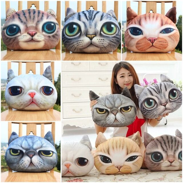 New Cat 3D Face Soft Throw Pillow Cover With Zipper Cushion Plush Toy Doll Gift