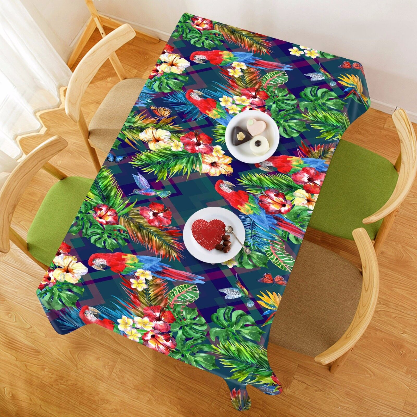3D Birds Flowers Tablecloth Table Cover Cloth Birthday Party Event AJ WALLPAPER