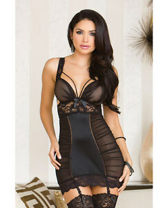 string Garters Chemise G Microfiber W Mesh Lace Lingerie Icollection Black nwx8qFY7T