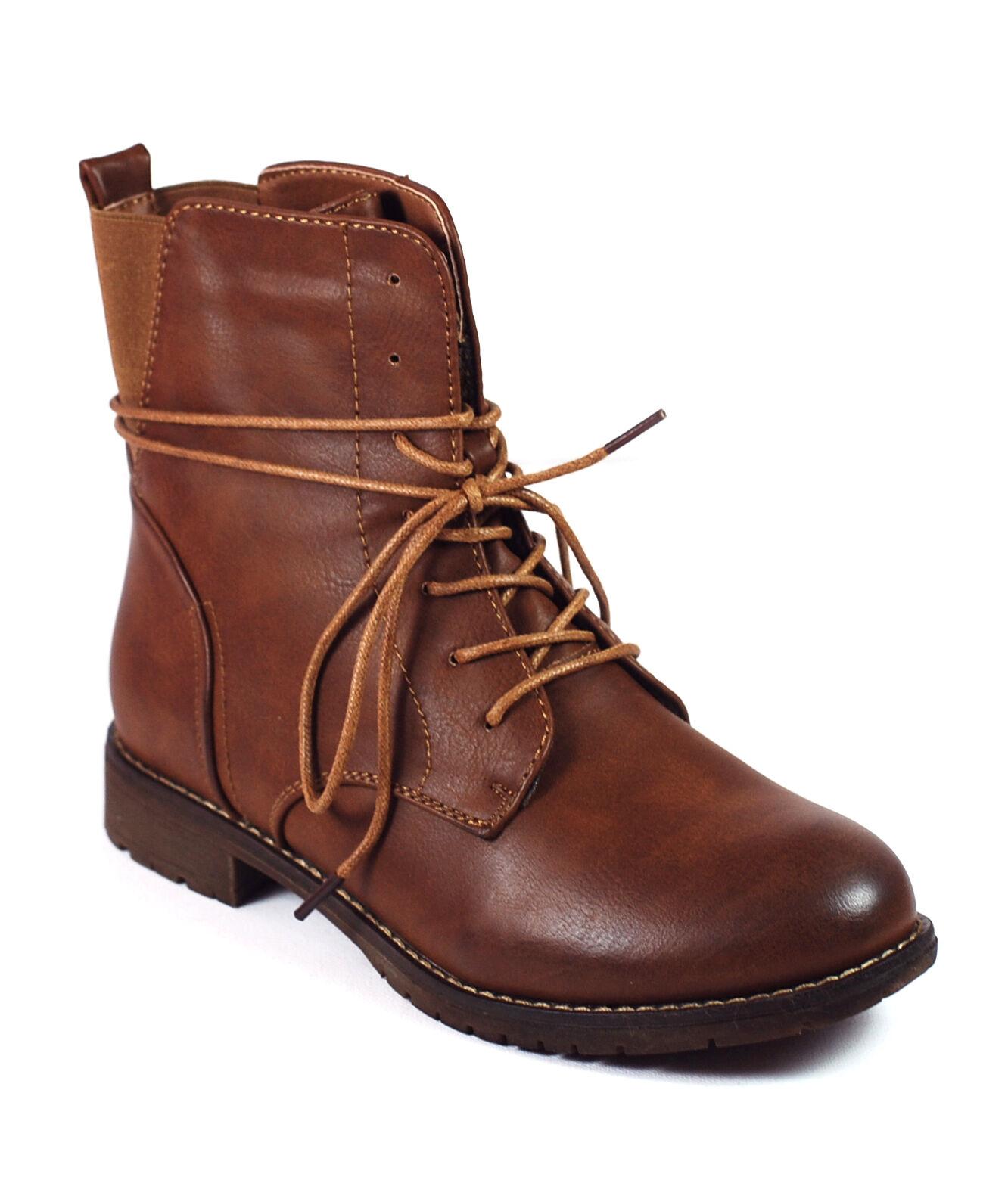 Schuh Stiefelette Stiefel Pumps Boots Damen Mädchen camel braun Klassik 165