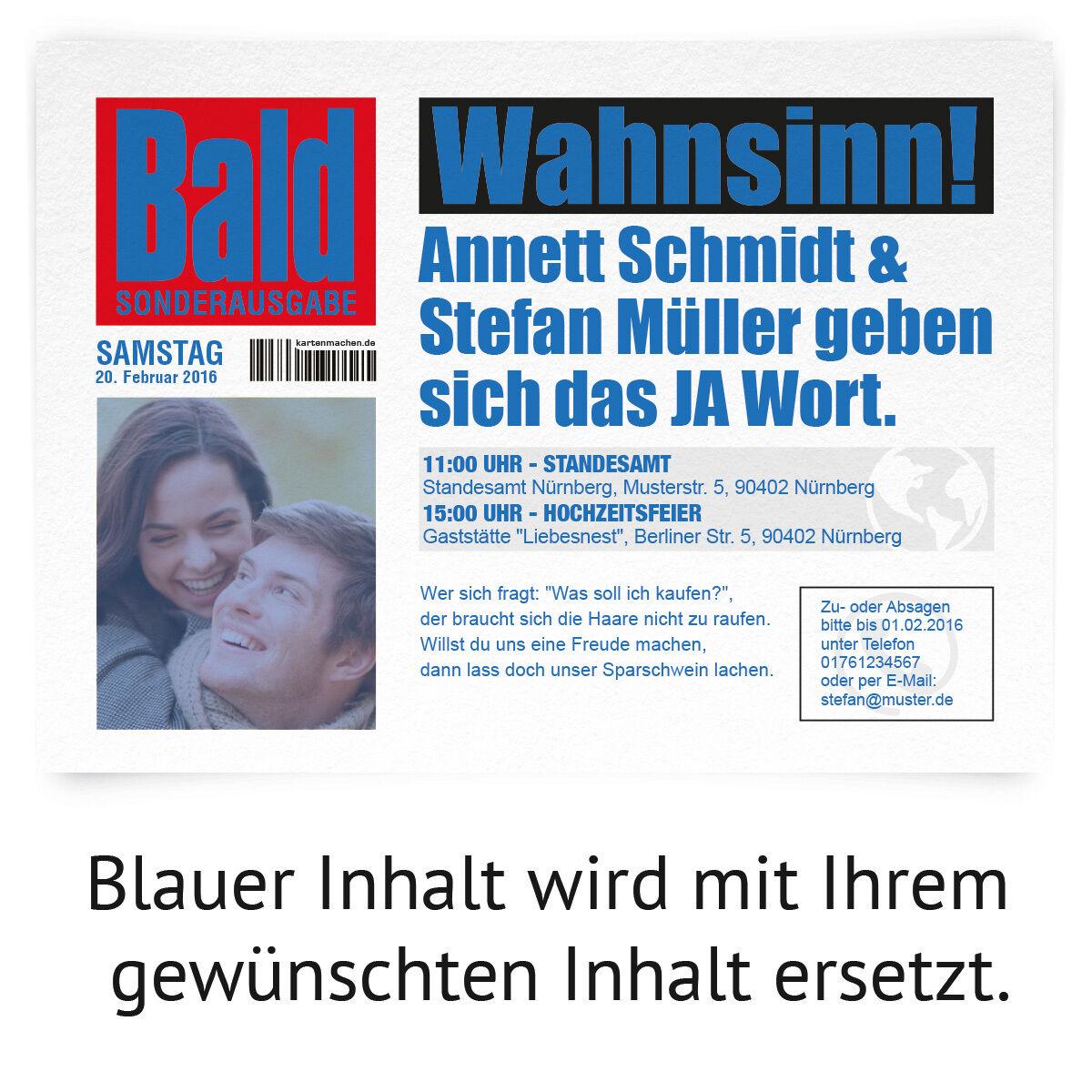 Einladungskarten zur Hochzeit als Zeitung Presse Meldung Magazin News News News Journal   | Neues Design  | Ausgezeichnetes Preis  be90fc