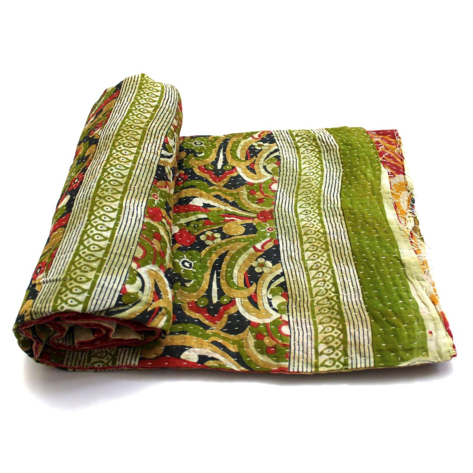 Vintage Kantha Quilt Indian Handmade Cotton Bedspread Organic Throw Bedding