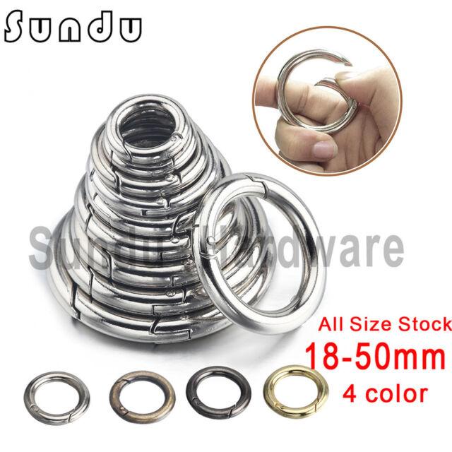 6Pcs Loose Push Gate Rings Clasp Snap Hook Spring Keyring Carabiner Silver
