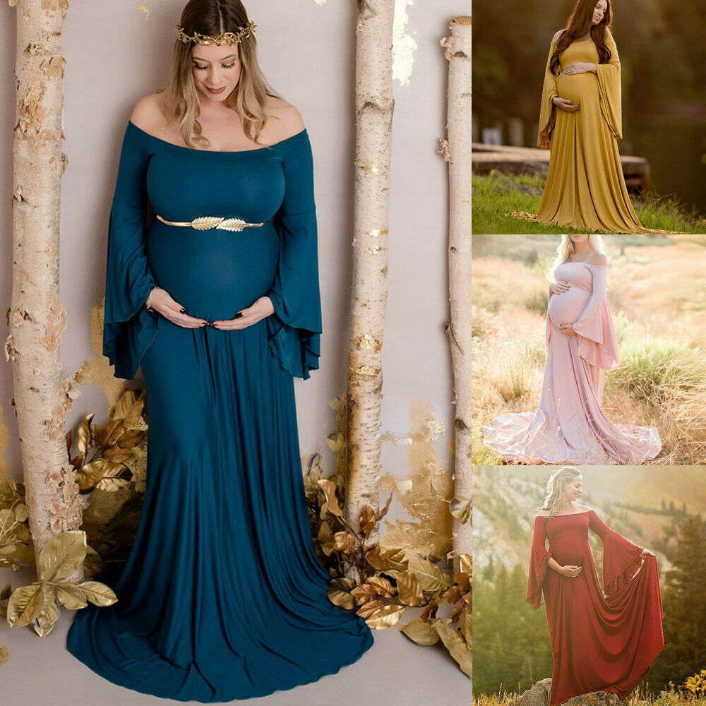 Fashion Women Pregnancy Photography Off Shoulder Maternity Solid Long Dress Gown 2