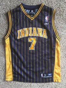 pretty nice ed4b3 93c03 Details about Reebok Indiana Pacers JERMAINE O'NEAL NBA Pinstripe Jersey  YOUTH Sz M KIDS BOYS