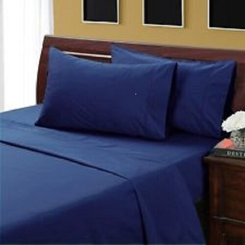 QUEEN SIZE NAVY BLUE SOLID BED SHEET SET 800 THREAD COUNT 100/% EGYPTIAN COTTON