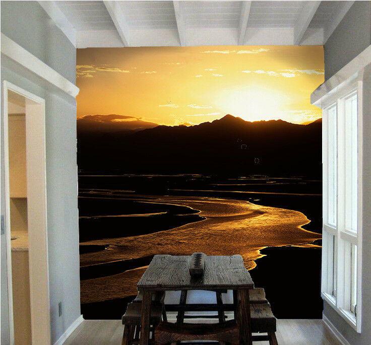 3D Sunset Hill River 9 Wall Paper Murals Wall Print Wall Wallpaper Mural AU Kyra