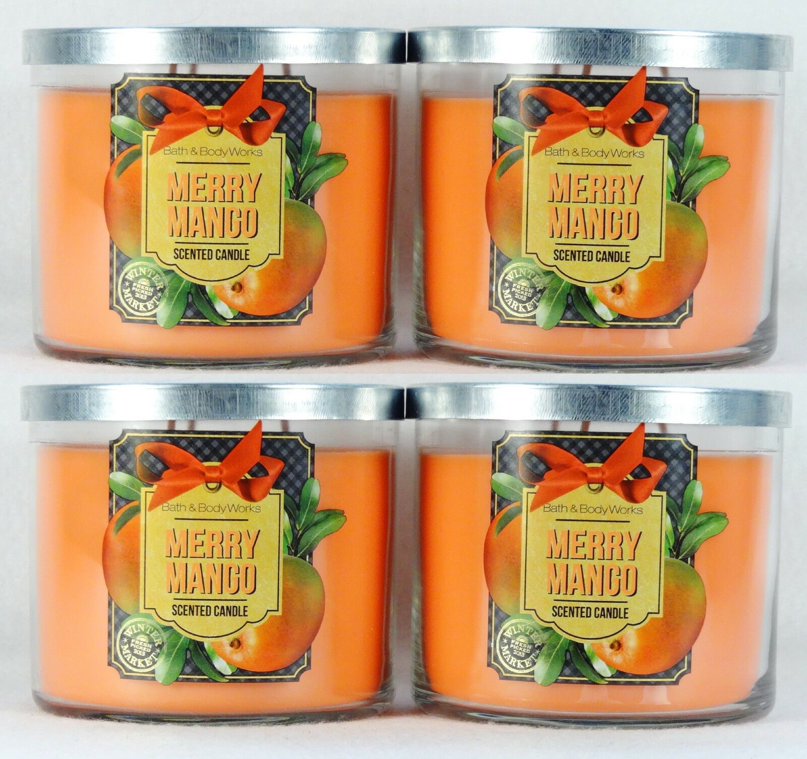 4 Bath Body Works MERRY MANGO - WINTER MARKET 3-Wick Filled Candle 14.5 oz