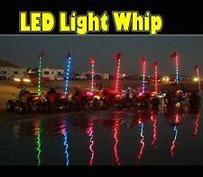6ft LED LIGHT BAR WHIP MULTI COLOR LIGHTED ANTENNA REMOTE ORANGE SAFETY FLAG ATV