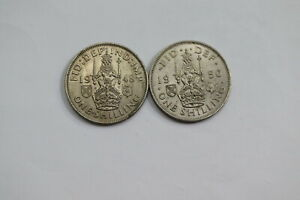 UK-GB-SHILLING-1948-1950-BOTH-HIGH-GRADE-B20-ZU7