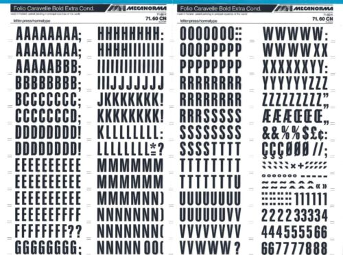 #279 Fonts MECANORMA Transfers Lettering A3 FOLIO CARAVELLE 15.4mm