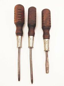 Vtg-antique-Mac-tools-wood-handle-screwdriver-lot-set-3-pcs-flathead-phillips