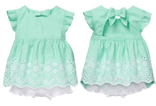 NWT GYMBOREE Girls Dressed Up Easter Mint Green Eyelet Outfit Bloomer Set 3-6 M