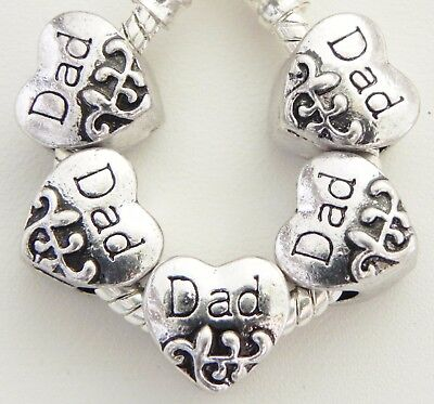 5 Dad Designed Heart Spacer Charms European Style 10 * 10 mm and 5 mm Hole S016