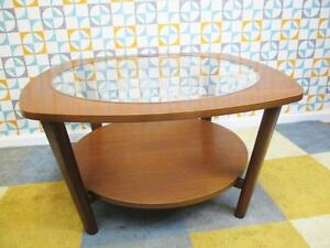 Vintage 1960's Round Teak & Glass Coffee Table Mid-Century ...