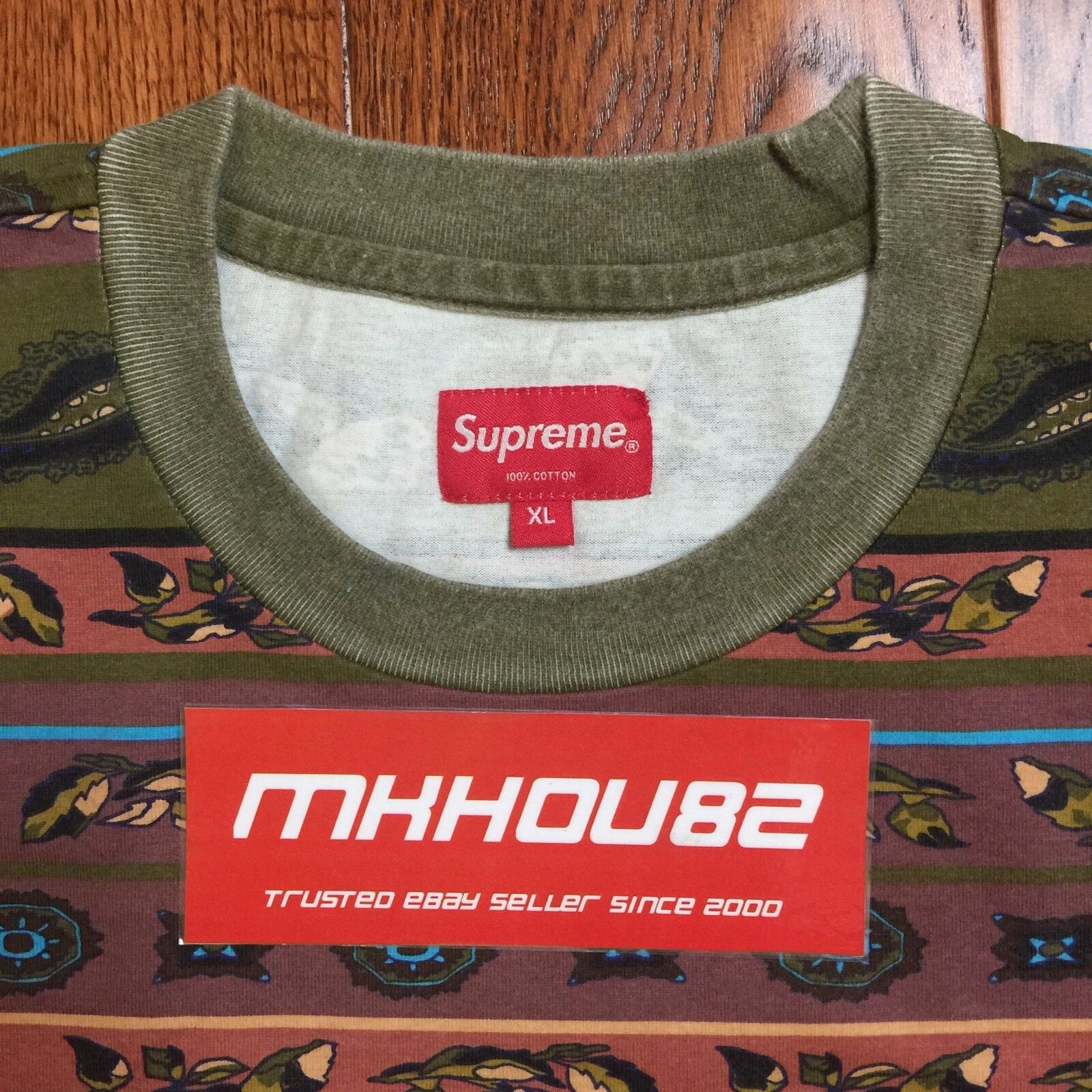 Nuovo Supreme Paisley Stripe Tee L/S Top Tee Stripe T-Shirt Olive Spring Summer 2016 Size XL 752bf0