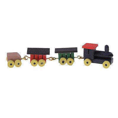 1:12 Dollhouse Vintage Colorful Train Set Wooden Miniature Accessory Decor Gift