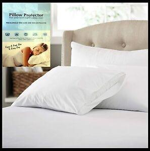Anti-Alergia-100-Algodon-Con-Cremallera-Protector-De-Almohada-Par-completamente-encajonado-74x48-Cm
