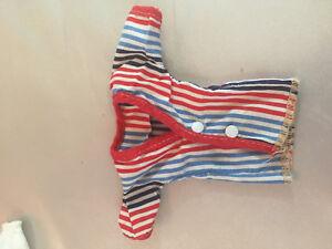 VTG-Fashion-Doll-Clothes-Dress-Up-Blouse-Tops-Red-Barbie-Stripes-Set-of-3