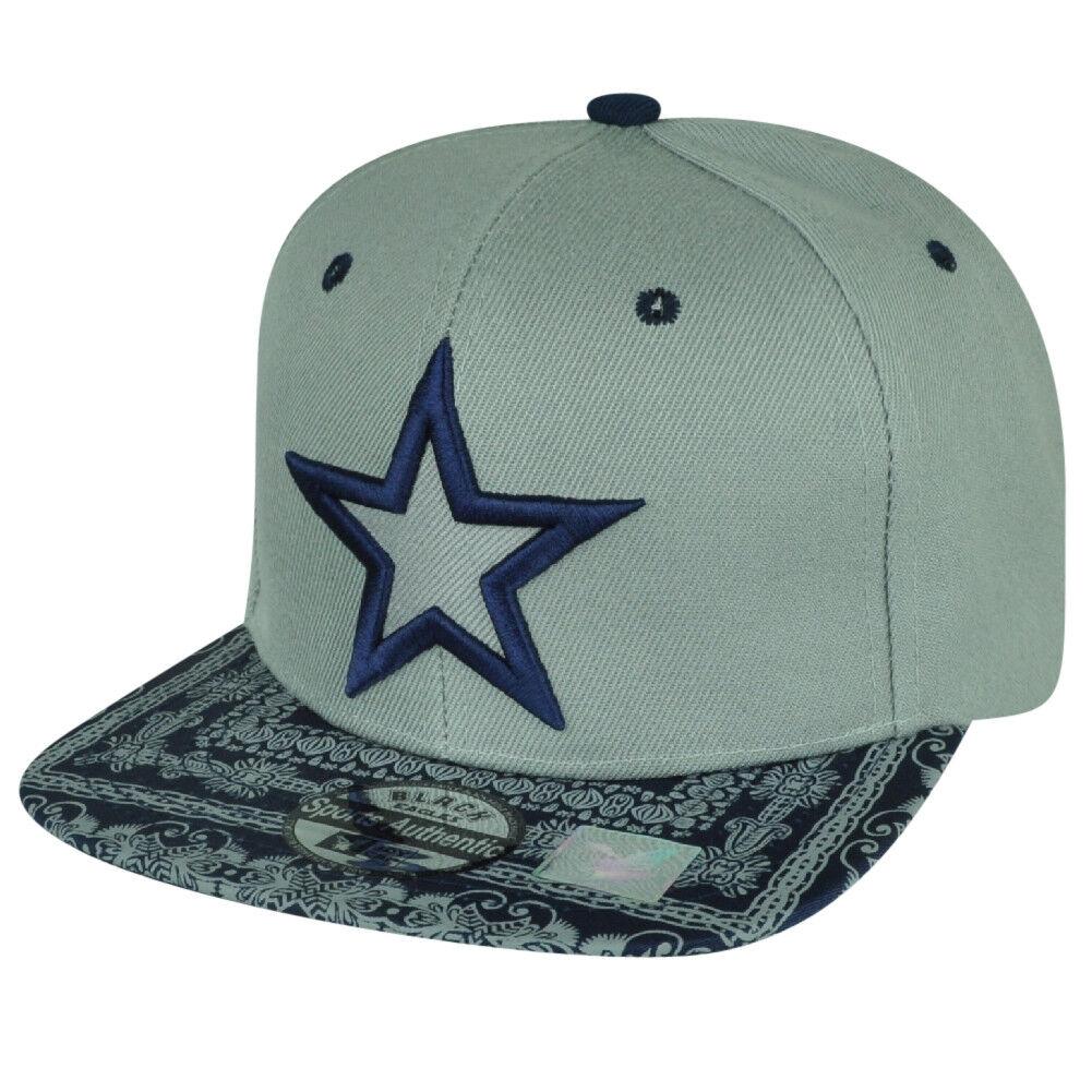 Star Kopftuch Druck Flach Bill Grau Marineblau Hut Cap Snapback Mode Verstellbar